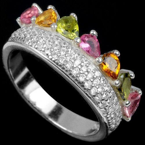 Турмалин разноцветный, серебро 925, кольцо, 1508КЦТ
