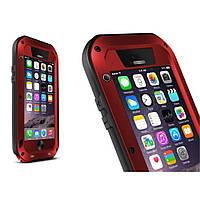 Чехол противоударный Love Mei Gorilla Glass для Apple iPhone 6 6S 4.7 красный
