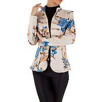 Пиджак женский милитари цветочный (Европа), Бежевый
