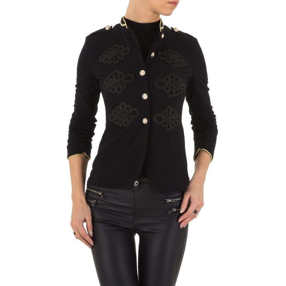Пиджак милитари женский с погонами и вышивкой Voyelles (Италия), Черный
