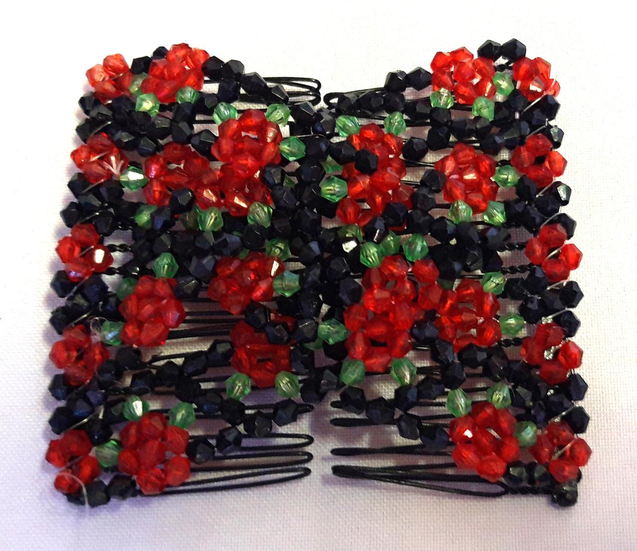 Заколка-монтера, красный, черный, зеленый крупный бисер