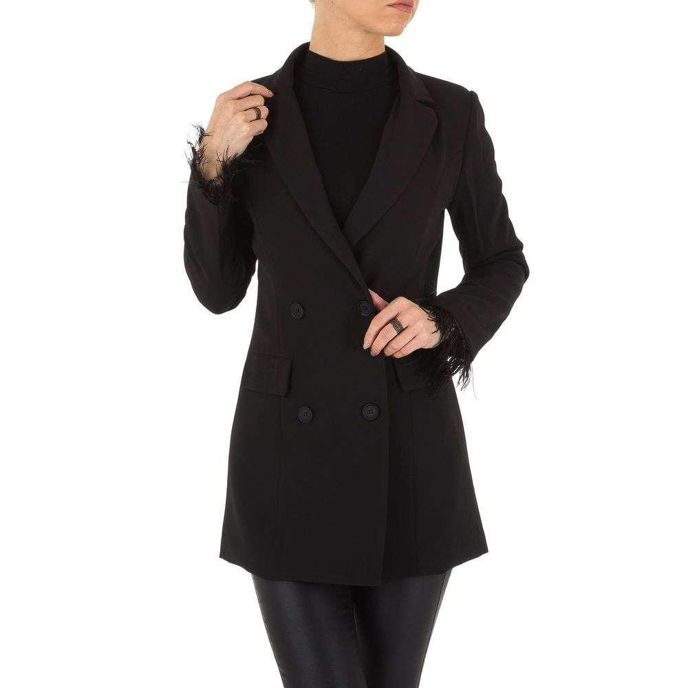 Пиджак женский удлиненный со страусиными перьями (Европа), Черный
