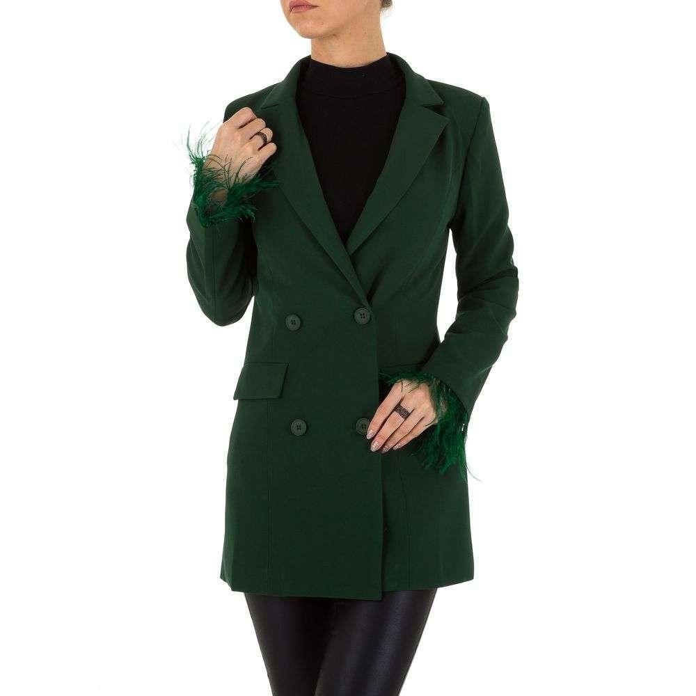 Пиджак женский удлиненный с перьями (Европа), Зеленый