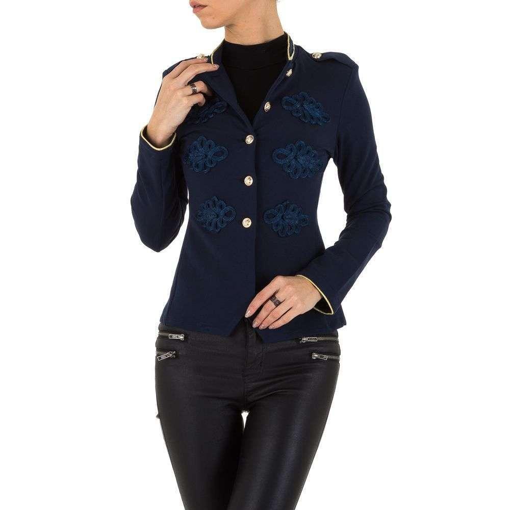Пиджак милитари женский с погонами и вышивкой Voyelles (Италия), Темно-синий