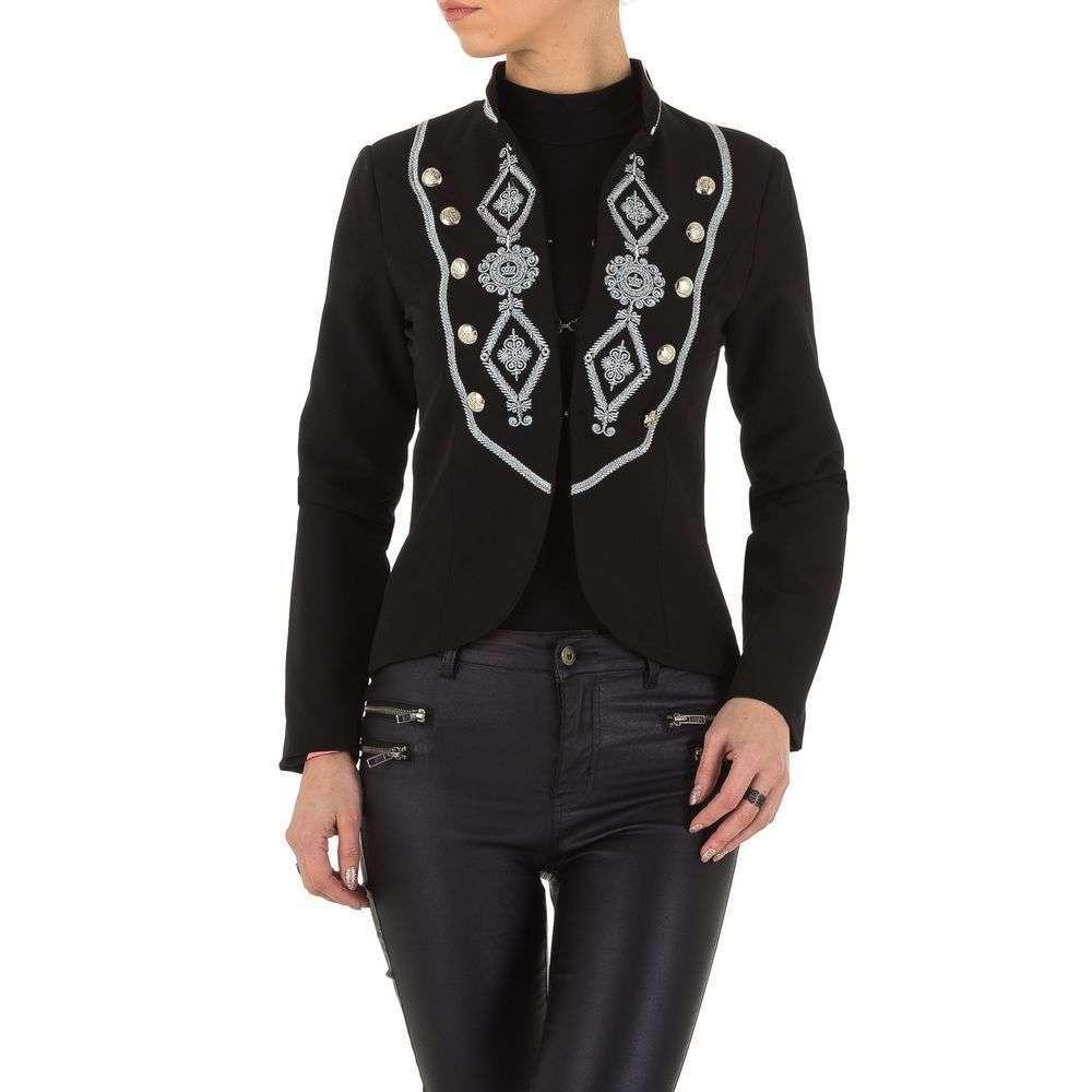 Пиджак милитари женский с вышивкой на груди (Европа), Черный