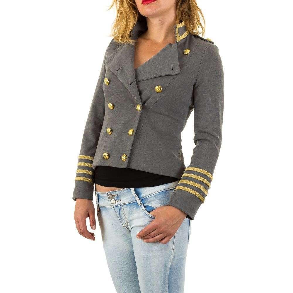 Пальто милитари женское двубортное короткое  (Европа), Серый