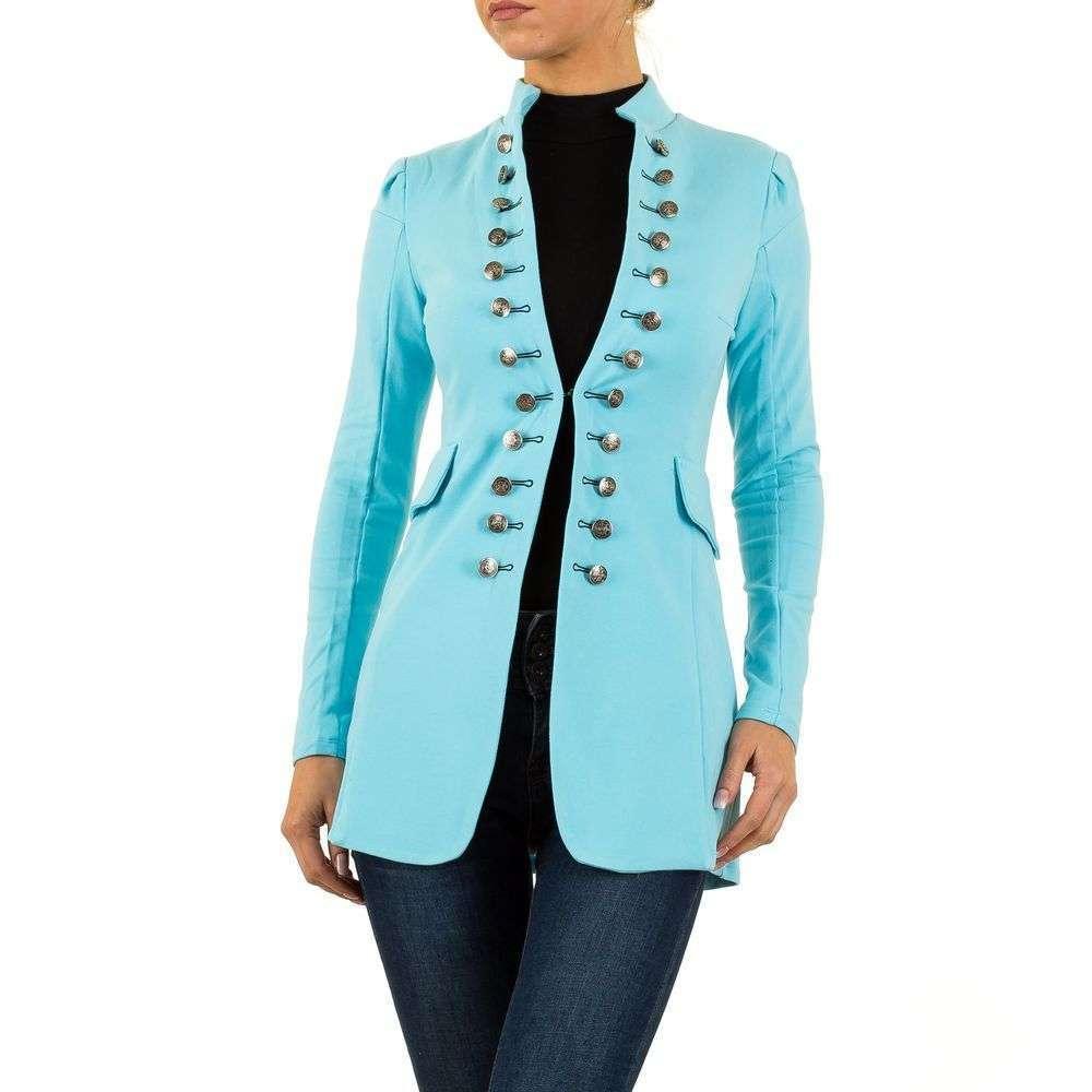 Пиджак милитари женский удлиненный (Европа), Голубой