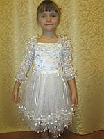 Белое детское платье с пайетками на утренник на прокат