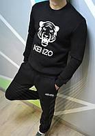 Мужской спортивный костюм, чоловічий костюм Kenzo (черный+белый лого), Реплика