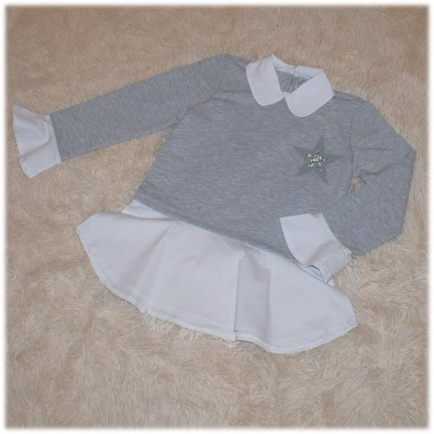 Кофта-обманка на девочку серого цвета TOONTOY (Турция) 116 122 134