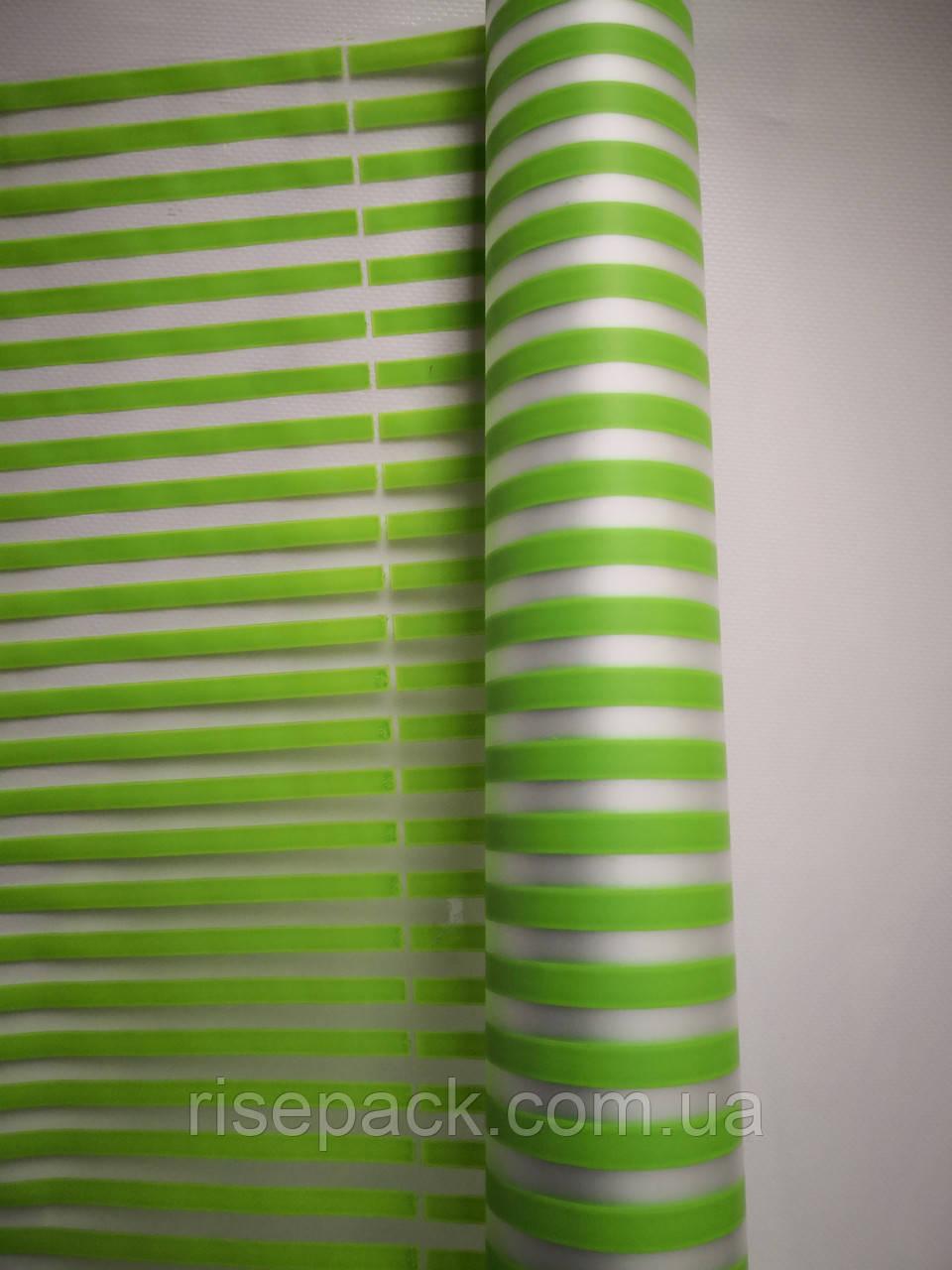 Пленка для упаковки подарков ПОЛОСА зеленая рулон 0,6х10м