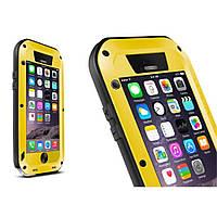 Чехол противоударный Love Mei Gorilla Glass для Apple iPhone 6 6S 4.7 желтый