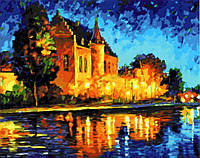 Картина по номерам Дом в лучах заката