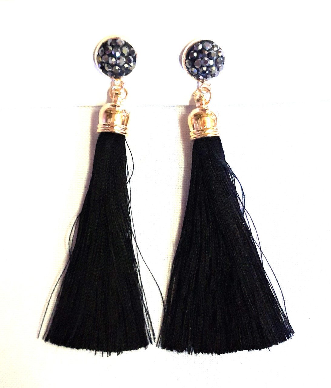 Серьги-кисточки, черные шамбала