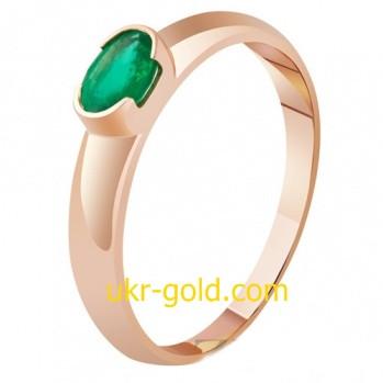 Золотое кольцо женское с изумрудом.