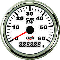 Тахометр с моточасами ECMS CMH3-WS-3K 85мм белый 901-00007 СЕРИЯ ЭКОНОМ