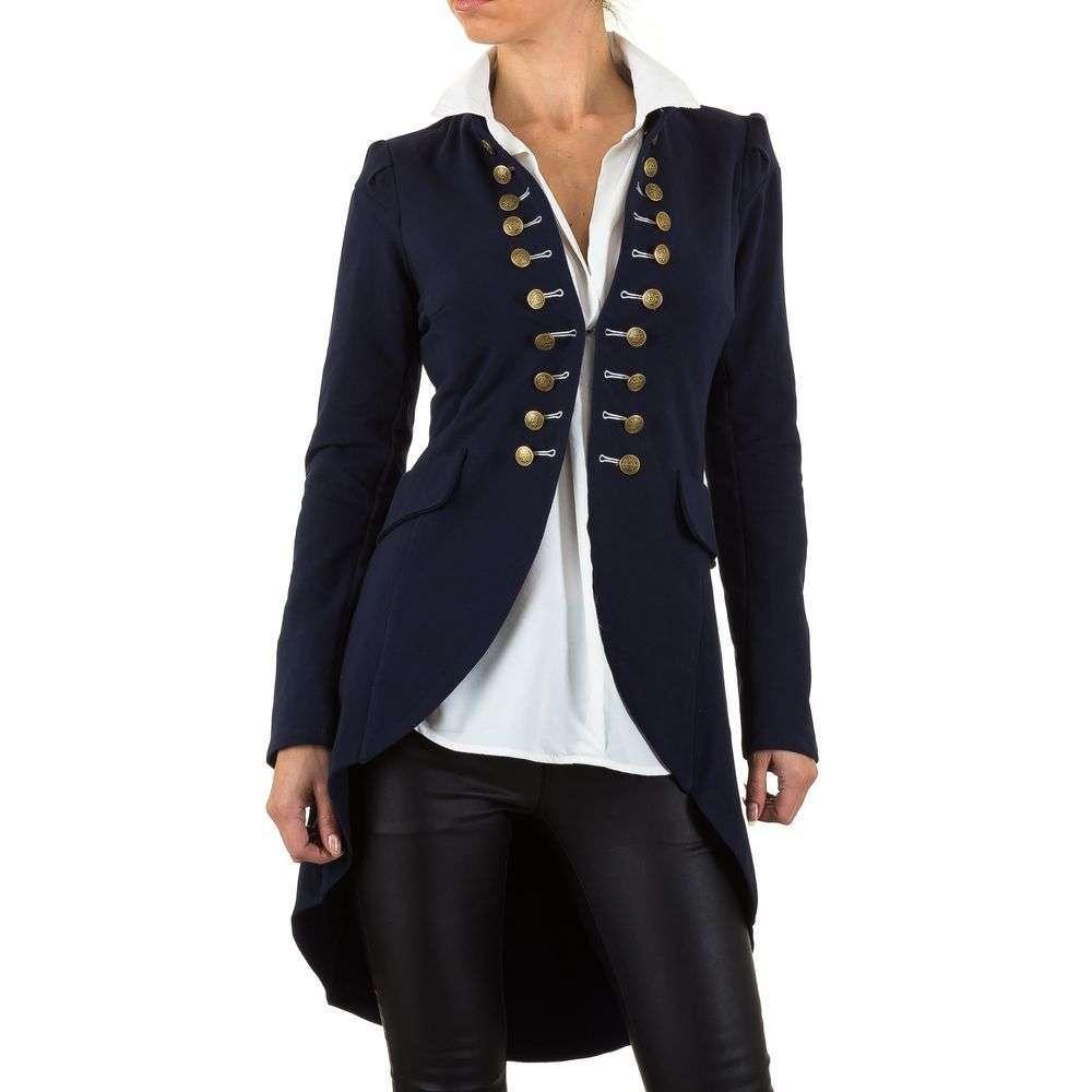 Пиджак милитари удлиненный женский в стиле фрака Voyelles (Италия), Темно-синий