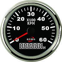 Тахометр с моточасами ECMS CMH3-BS-3K 85мм черный 901-00008 СЕРИЯ ЭКОНОМ