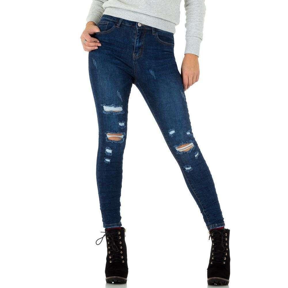 3f5515888a81 Женские помятые и рваные на коленях джинсы скинни (Европа), Синий купить  оптом в ...