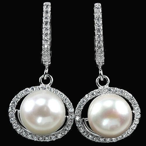 Перли білий, срібло 925, сережки, 803СЖ