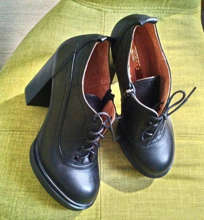 Ботильоны женские на высоком каблуке кожаные черные