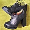 Ботильоны женские на высоком каблуке кожаные черные, фото 2