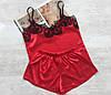 Пижама атласная женская майка и шорты красная, фото 2