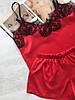 Пижама женская атласная майка и шорты красная, фото 2