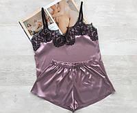 Женская пижама атласная темная пудра 016