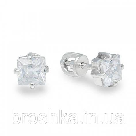 Серебряные серьги гвоздики с квадратным камнем, фото 2