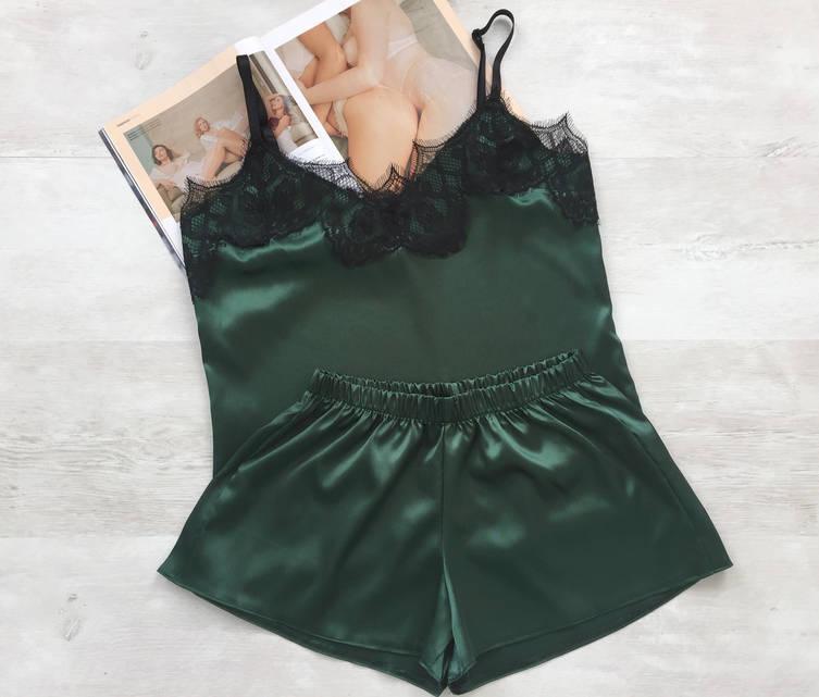 Пижама женская атласная майка и шорты зеленая 02