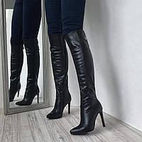 Женские ботфорты сапоги на высоком каблуке шпилька из натуральной кожи 82de71f337676