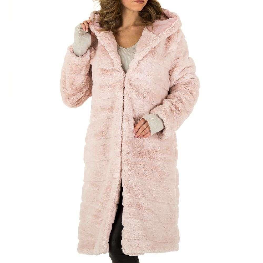 Плюшевое пальто женское с капюшоном Holala (Европа), Розовый