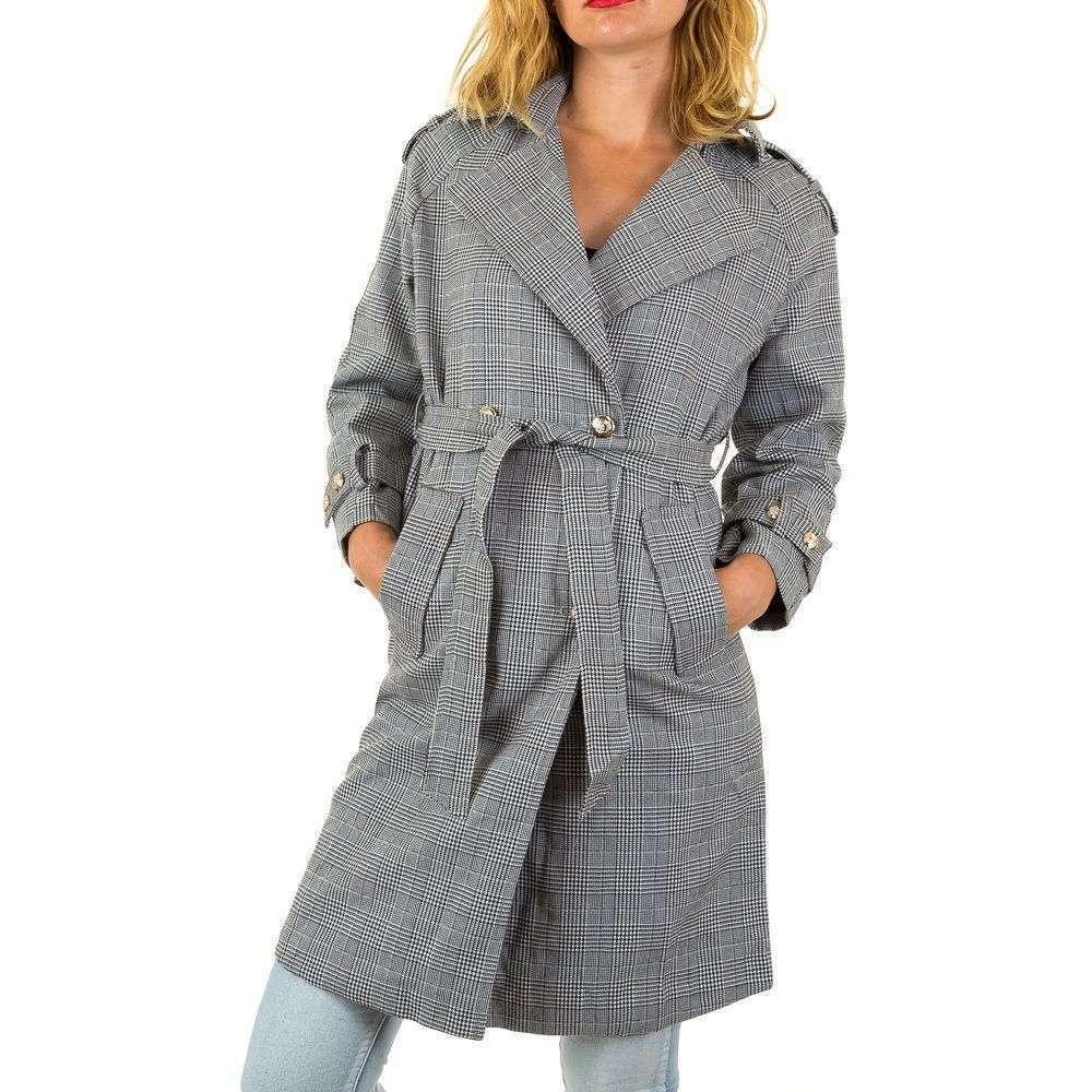 Пальто в клетку женское (Европа) Серый
