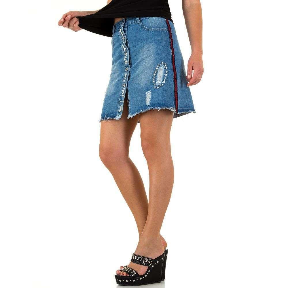 Джинсовая юбка с пуговицами спереди и лампасами Realty Jeans (Европа) Синий