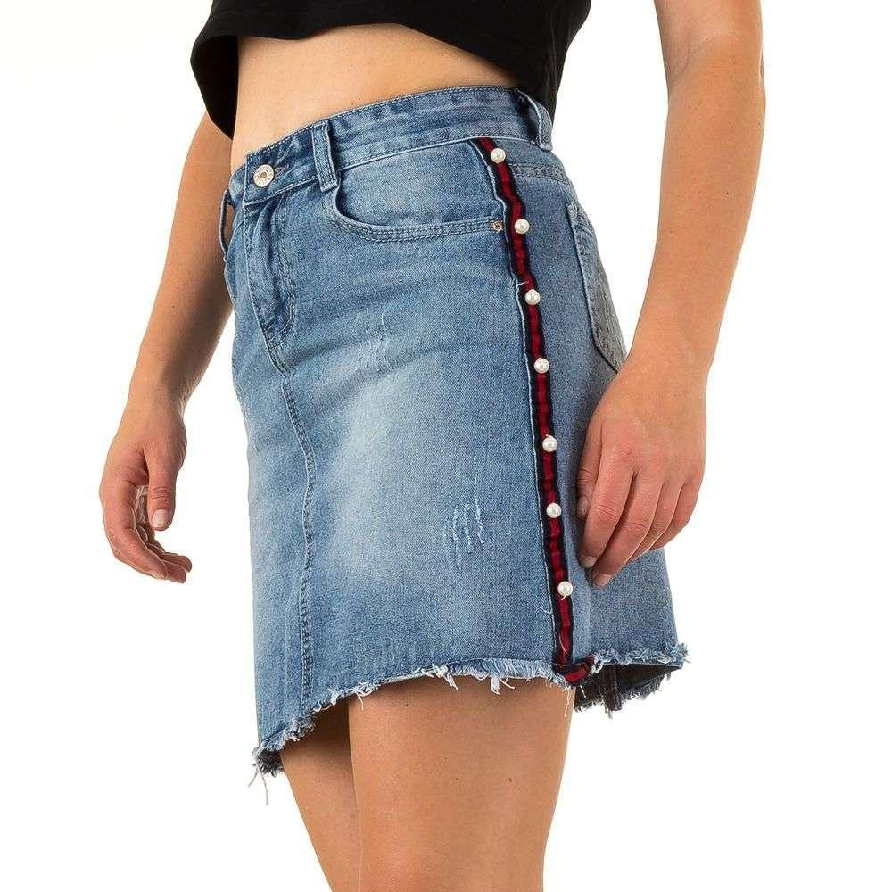 769de2c083cf Джинсовая юбка с лампасами и рваной бахромой Realty Jeans (Европа) Синий