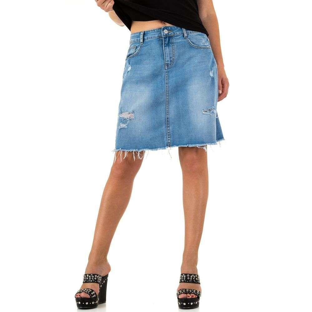 Рваная джинсовая юбка трапеция Realty Jeans (Европа) Синий