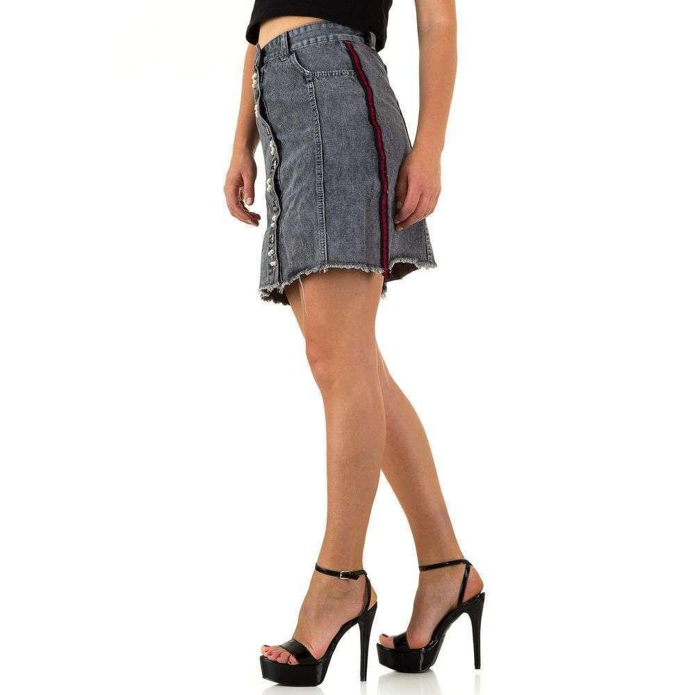 Черная юбка джинсовая c пуговицами и лампасами Realty Jeans (Европа) Черный