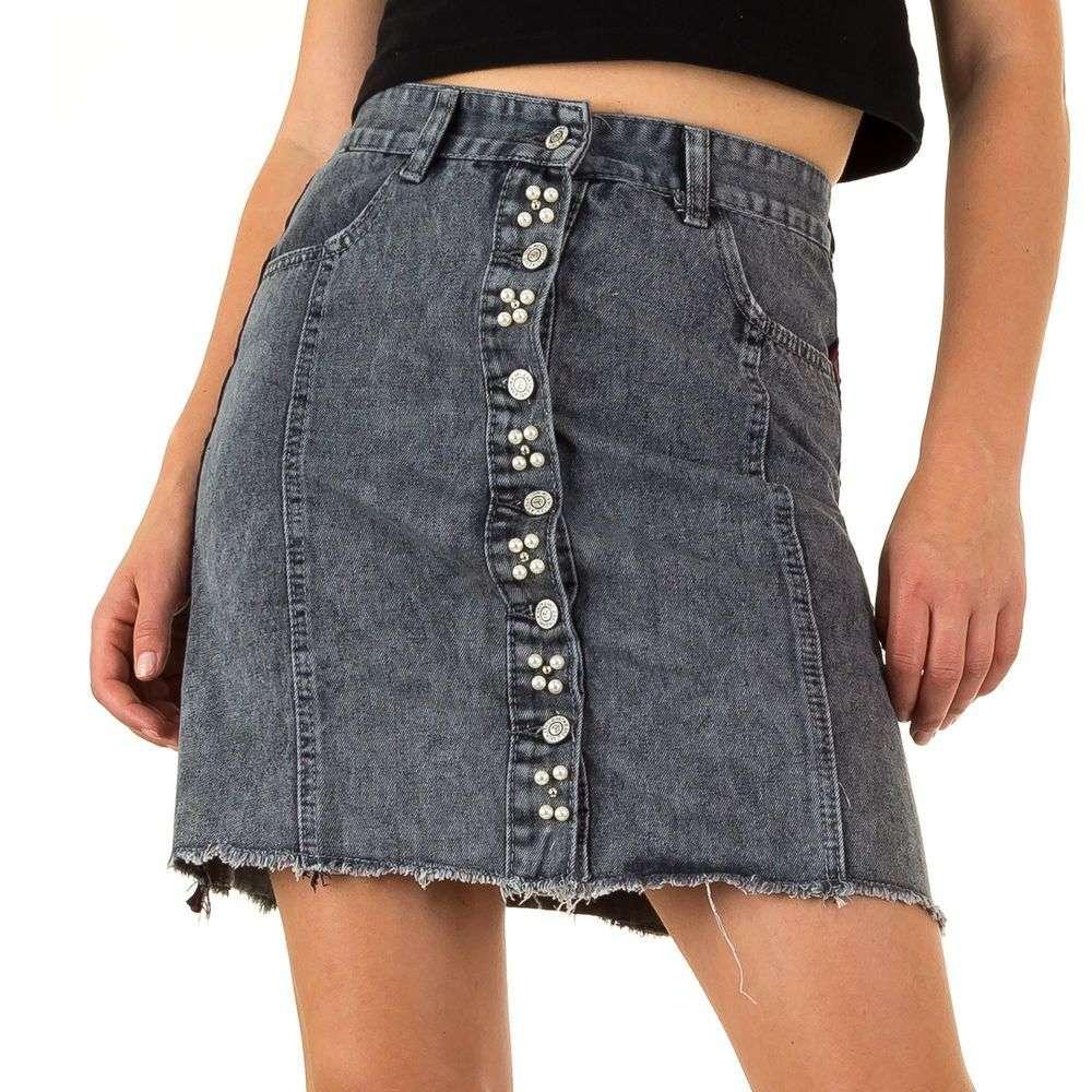 476fb5bc048c Черная юбка джинсовая c пуговицами и лампасами Realty Jeans (Европа) Черный