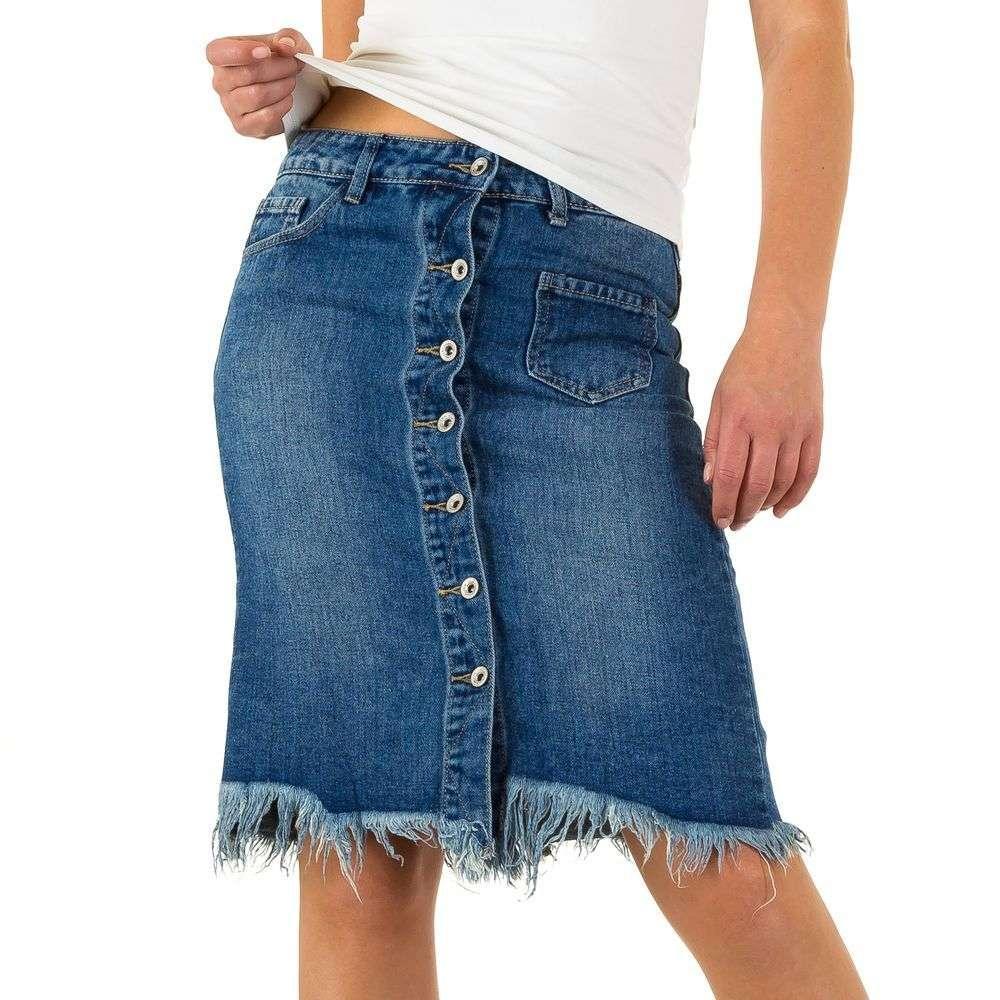 f5d386b90dbf Рваная джинсовая юбка на пуговицах спереди Lexxury (Франция) Синий
