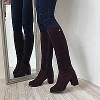 Женские высокие сапоги на широком каблуке цвета спелой вишни из замши 2d03c1e298191