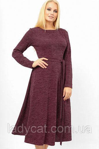 Бордовое ангоровое платье с юбкой полу солнце Батал
