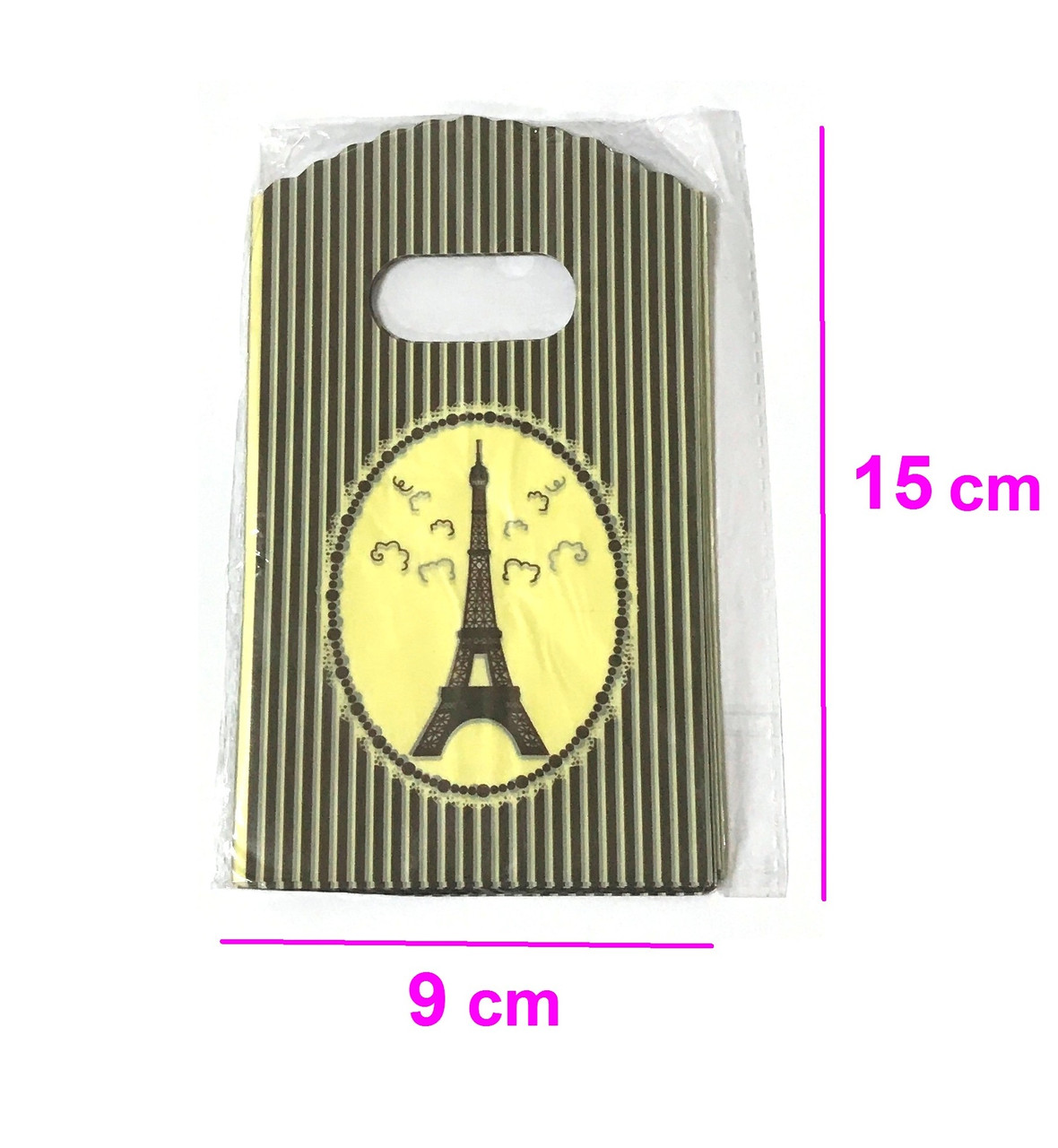 Подарочные Пакеты, 9см*15см, (50 шт.), Ейфелева Башня, желтый