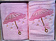 """Набір махрових рушників 3D """"Парасолька"""" Vianna (особа+серветка), рожевий, фото 4"""