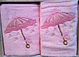 """Набор махровых полотенец 3D """"Зонтик"""" Vianna (лицо+салфетка), розовый, фото 4"""