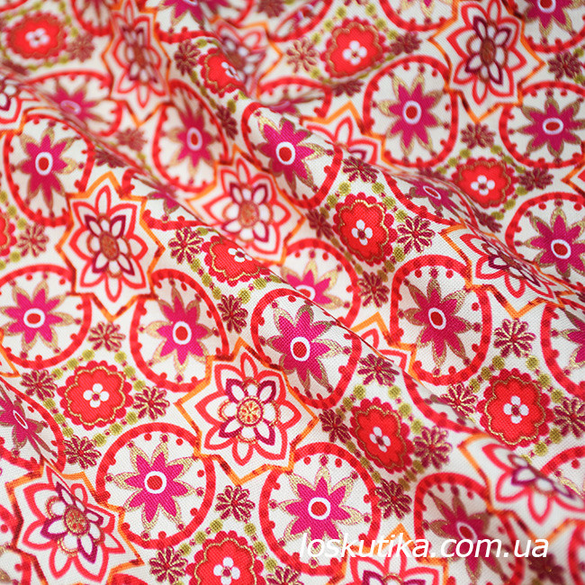 47004 Звездное золото (красный). 100% хлопок. Ткани новогодние. Ткань с позолотой.