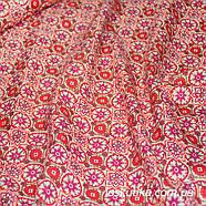 47004 Звездное золото (красный). 100% хлопок. Ткани новогодние. Ткань с позолотой., фото 2