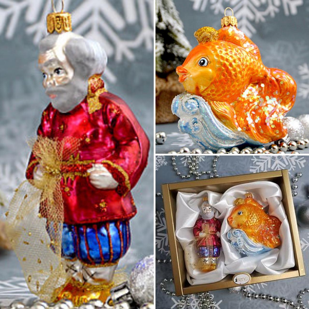 Набор стеклянных елочных игрушек Золотая рыбка Irena