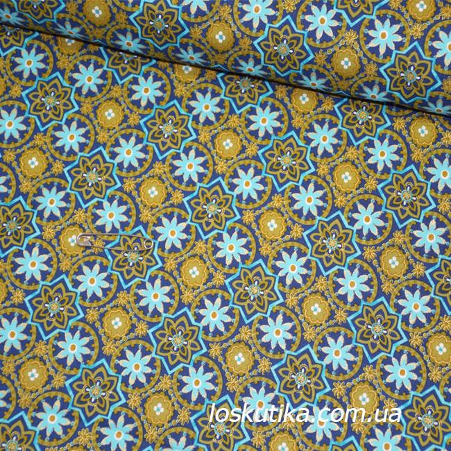 47005 Звездное золото (синий).  Ткани для новогодних изделий. Ткани с позолотой.