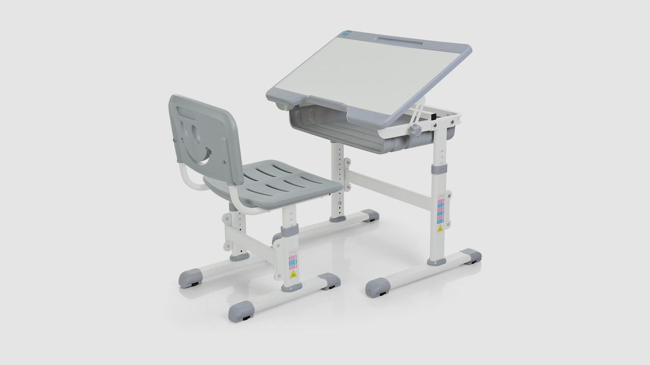 Парта BAMBI со стульчиком. Регулируется высота и наклон столешницы. Серого цвета
